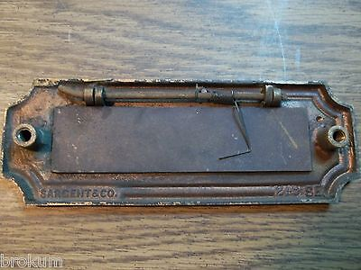 Antique Sargent Heavy Solid Bronze Art Deco Mail Slot Drop-Pass Through W/spring 3