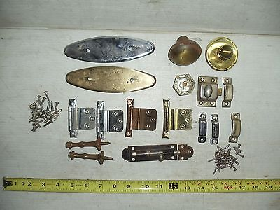 Lot Of Old Vintage Misc. Door Knobs Hinges Latches Pulls Hardware 2