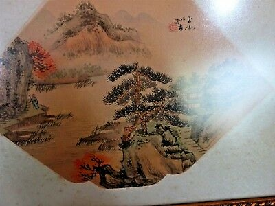 Rare Antique Chinese Fan Original Painting on Silk Fantastic Country Landscape 8