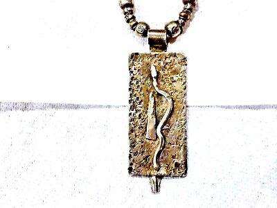 Antique Pre Columbian Jade & Silver Necklace Pendant Snag Design 3