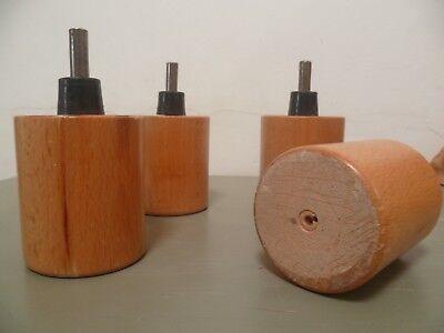 Lot de 4 pieds de lits ronds en bois vernis naturel 13 cm hauteur 3