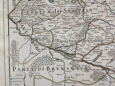Germany Mecklenburg Dated 1692 Giacomo De Rossi Large Antique Engraved Map 5