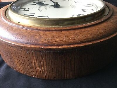 1930s Art Deco Oak Industrial Large Office Wall Clock, Working 9