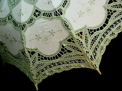 CottonBattenberg Lace Parasol Sage Green and off wht Victorian Edwardian style 5