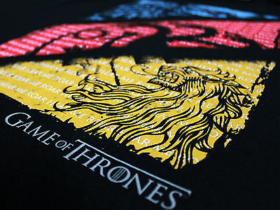 Game of Thrones 3 House Crests and Quotes Stark Lannister Black Mens T-shirt 6