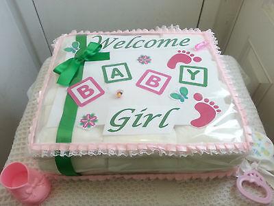 1 Tier Square Sheet Diaper Cake Baby Shower Centerpiece Gift Boy Girl Unisex