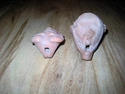 Pair Pre-Columbian Mayan Figures Terracotta Whistles Male Figure & Female Head 5