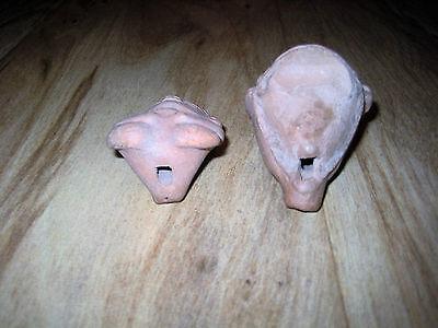 Pair Pre-Columbian Mayan Figures Terracotta Whistles Male Figure & Female Head 5