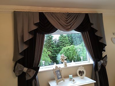 4 Of 7 Black Grey Designer Curtains Swags And Tails