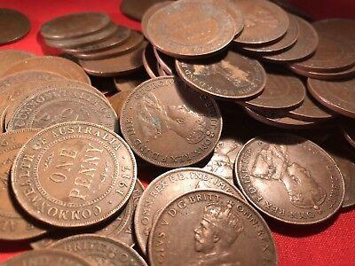Australian KGV Pennies. Pre Decimal Coins. x20 Big Variety Of Years. 4