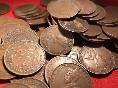 Australian KGV Penny. Pre Decimal Coins. x20 Pennies. Big Variety Of Years. 4