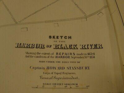 Harbor Of Black River, Cleveland, Ohio 1854 Map/Sketch/Survey 2