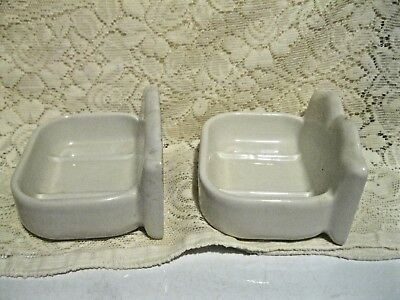Vintage White Porcelain Bathroom Wall Mount Matching Soap Dishes 3
