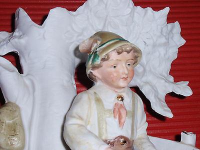 Antique German Bisque / Porcelain Vase / Figurine Boy With Lyre G Dep 11