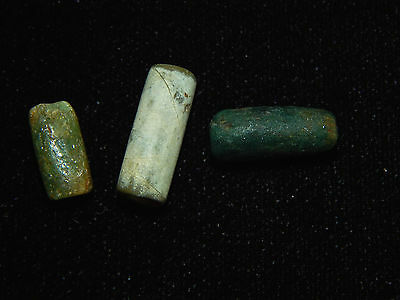 Pre-Columbian Jade Tubular Beads, Set of 3, Authentic,Very Rare, Costa Rica 3