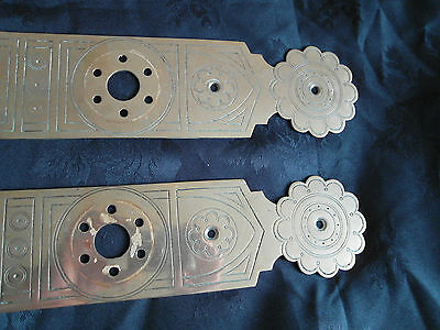 Pr Large  Antique Arts & Crafts Brass Door Finger Plates 2