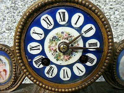 Antique Marti French Mantel Clock Gilt Sevres ? Porcelain Panel Clock 2