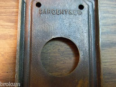 Vintage Heavy Bronze / Brass Sargent Door Back Plate Knob Escutcheon Circa 1890