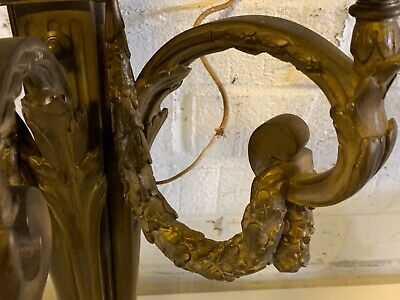 Antique 19th Century Triple Arm French Gilded Bronze Sconces w/ Flaming Urn Dec 4
