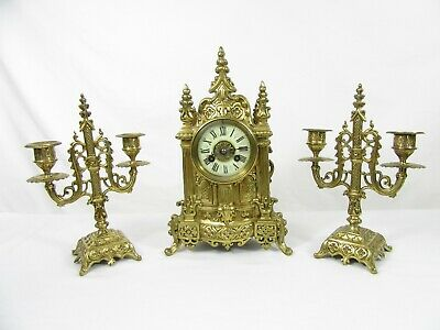 Cathedral French Mantel Clock Garniture set by Vincenti c1855 5