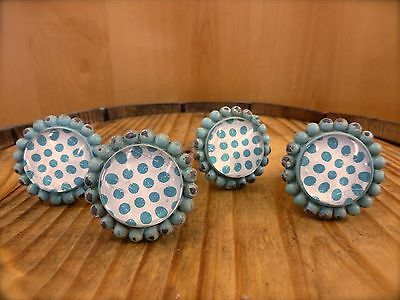 4 BLUE SUN FLOWER GLASS DRAWER CABINET PULLS KNOBS VINTAGE chic garden hardware