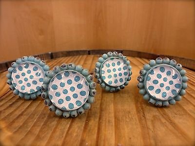 4 BLUE SUN FLOWER GLASS DRAWER CABINET PULLS KNOBS VINTAGE chic garden hardware 3