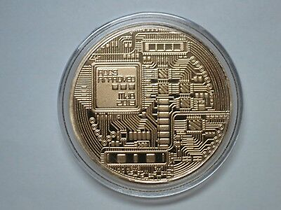 Bitcoin Gold Plated Physical Commemorative Bitcoin BTC Collectible Coin in Case
