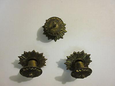 3 Vintage Regency Brass Hardware Drawer pulls Handles Dresser pierce carved 3