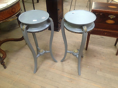 pair french victorian grey painted ormolu torcheres plant candle stand jardinier 2