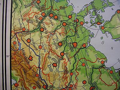 Schulwandkarte Europa Russland Ukraine Nordpol Asien halb Weltkarte 1970 243x184