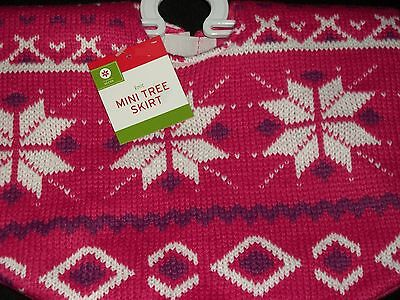 Pink Purple Knit Mini Christmas Tree Skirt Sweater Snowflake Holiday Miniature