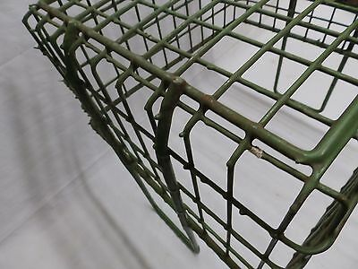 Vintage Small Kelly Green Coated Wire Basket With Handles Old Steampunk 3987-14 5