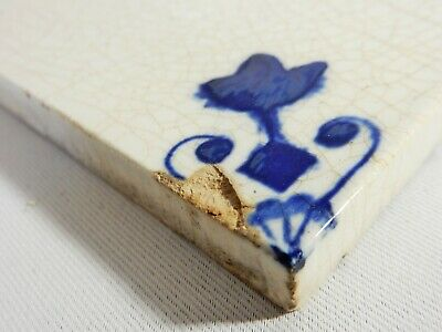 Antique Original Delft Tile Washstand Fireplace Wash Stand Blue White Victorian 3
