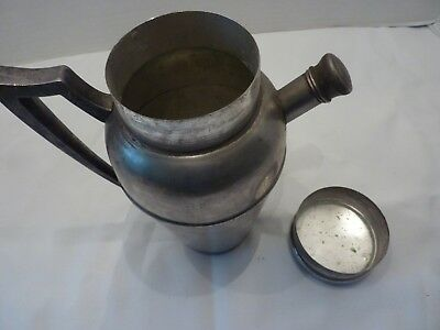 Antique Vintage J F Silverplate Cocktail Shaker Pitcher with Handle 8
