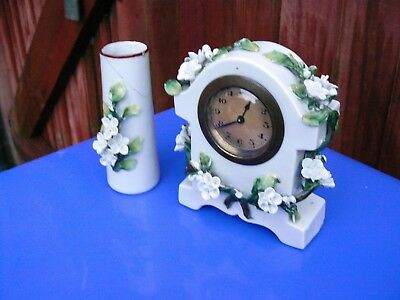Antique Late Victorian Ceramic Table Clock Set 3