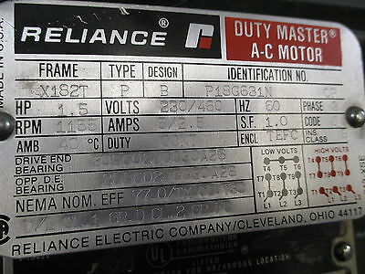 1 of 7 Reliance Duty Master A-C Motor: 1.5 HP, 230/460V, 1155 RPM,