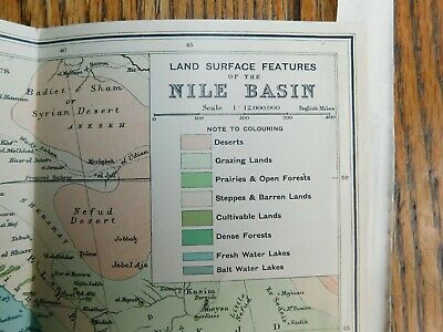 Antique 1903 Lithographed Map-Egypt Africa Nile Basin Red Sea-Stokes Co. COA 3