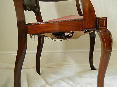 Antique Original Walnut Elbow Chair,Rose Coloured Upholstery,Beautiful Inlay. 12