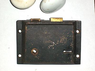 Antique SLAYMAKER cast iron lock porcelain Doorknobs with escutcheon 2
