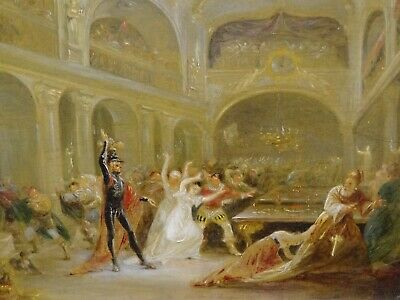 Unusual 18th 19th Century Skeleton Devil Demon At The Banquet Antique Painting 3