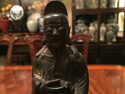 A Chinese Ming Dynasty Bronze Statue with Original Wooden Stand and Zitan Box. 5