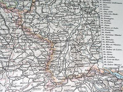 1896 Antique Original Map Of France / Showing German Alsace Lorraine 4