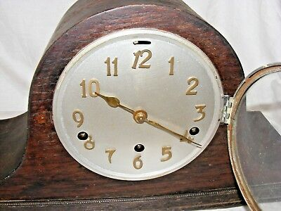 Antique Working Napoleon Hat Mantel Clock Brass Letters Westminster Chimes 3