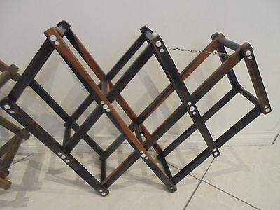 2 x Retro Wooden Wine Rack Brown in colour Expandable folding wine racks 3