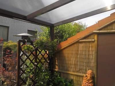 Terrassendach Alu Sonnenschutz-Stegplatten klar Terrassenüberdachung 9 m breit