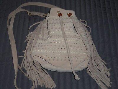 f5083be4e2b LINEA PELLE COLLECTION Suede Beige Shoulder Bucket Cross Body Bag w/ Tassels