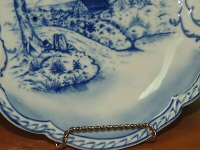 "Hand Painted 10"" Plate w/ Handles Delft? Blue & White Windmill Antique Vintage 6"