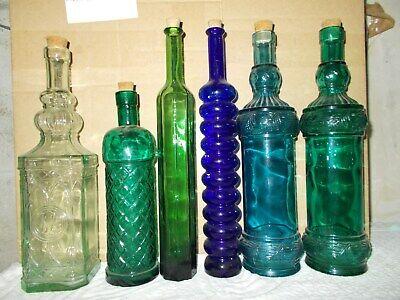 stock 6 pz bottiglie diverso colore e formato vintage antica essenze farmacia 2