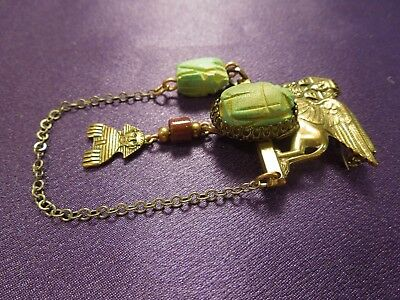 Egyptian Revival Scarab Sphinx W/ Chain Vintage Brooch Pin 2