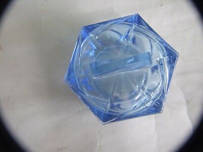 Antique Art Deco Blue Glass Powder Box Boudoir with Lid 1930's 11